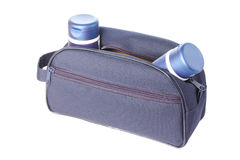 Travel toiletries bag with man`s cosmetics Stock Photography
