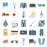 Travel and Tour Color Vector Isolated Icons Consists with flag, drink, flip flop, binoculars, building, cup, train, dining, weath stock illustration