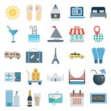 Travel and Tour Color Vector Isolated Icons Consists with sun, flip flop, ladder, shop, taxi, Calendar, bus, fins, diving, ale, d royalty free illustration