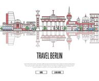 Travel tour to Berlin poster in linear style Royalty Free Stock Image