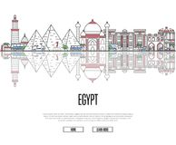 Travel tour to Egypt poster in linear style Stock Photo