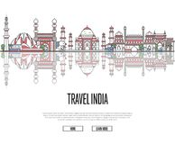 Travel tour to India poster in linear style Stock Images