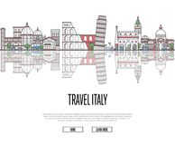 Travel tour to Italy poster in linear style Royalty Free Stock Photos