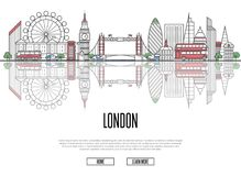 Travel tour to London poster in linear style stock illustration