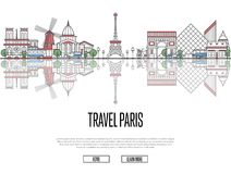 Travel tour to Paris poster in linear style royalty free illustration
