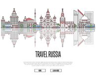 Travel tour to Russia poster in linear style Royalty Free Stock Photo