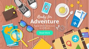 Travel and tourism. Advertisement banner. Vector cartoon style illustration of journey theme objects. Travel and tourism. Advertisement poster or web banner Royalty Free Stock Photos