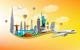 Travel and tourism with airplane on orange background Stock Images