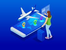 Travel and tourism background. Buying or booking online tickets. Travel, Business flights worldwide. Flat isometric. Vector illustration Royalty Free Illustration