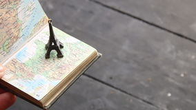 Travel and tourism background. Eiffel tower and map stock video