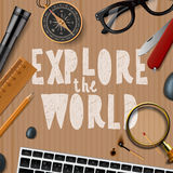 Travel and tourism background. Explore the wold, travel and tourism background, vector illustration Royalty Free Stock Images