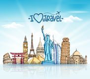 Travel and Tourism Background with Famous World Landmarks. In 3d Realistic and Sketch Drawing Elements. Vector Illustration Royalty Free Stock Images