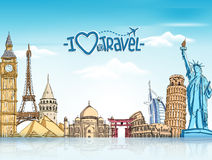 Travel and Tourism Background with Famous World Landmarks. In 3d Realistic and Sketch Drawing Elements. Vector Illustration Stock Photos