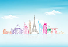 Travel and Tourism Background with Famous World Landmarks Stock Image