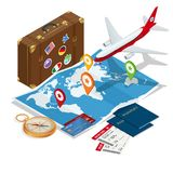 Travel and tourism background. Flat 3d Vector illustration. To travel is to live Bag, passport, tickets and Passenger. Airplane. Luxury vacation. Our travel Stock Photo