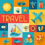 Travel and tourism background in flat design style Stock Photos