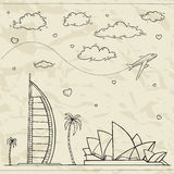 Travel and tourism background. Vector hand drawn illustration Stock Image