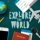 Travel and tourism background. Vector illustration Stock Photos