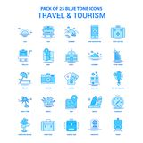 Travel and Tourism Blue Tone Icon Pack - 25 Icon Sets royalty free illustration