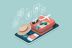 Travel and booking smartphone app. Travel, tourism and booking app: travel equipment and luggage on a mobile touch screen smartphone royalty free illustration