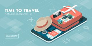 Travel and booking smartphone app Royalty Free Stock Images