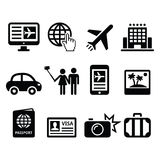Travel and tourism, booking holidays icons set Royalty Free Stock Images