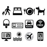 Travel and tourism, booking holidays icons set Stock Photos