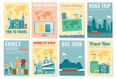 Travel and Tourism brochure set. Template of magazine, poster, book cover, banner, flyer. Vector Royalty Free Stock Images