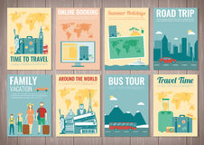 Travel and Tourism brochure set. Template of magazine, poster, book cover, banner, flyer. Vector Stock Photo