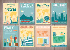 Travel and Tourism brochure set. Template of magazine, poster, book cover, banner, flyer. Vector Royalty Free Stock Photography