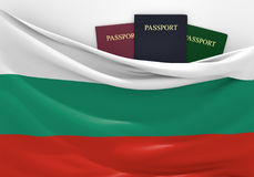 Travel and tourism in Bulgaria, with assorted passports Royalty Free Stock Photography
