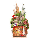 Travel. Tourism collage attractions of the world