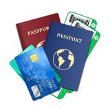 Travel and tourism concept. Air tickets, passports Royalty Free Stock Images
