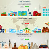 Travel and Tourism concept banners. Website templates. Vector Royalty Free Stock Photo