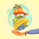 Travel And Tourism Concept. Travel and tourism cartoon concept with hand globe and car on yellow background vector illustration Stock Images