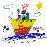 Travel and tourism concept. Cute boat children`s drawings of kids on notebook page Royalty Free Stock Photos