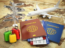 Travel or tourism concept. Passport, airplane. Royalty Free Stock Photo