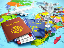 Travel or tourism concept. Passport, airplane, airtickets and de Stock Photography