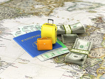 Travel or tourism concept. Passport, suitcases, tickets and money, on the world map. 3d  illustration Stock Photo