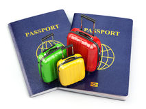 Travel or tourism concept. Passport and suitcases  on wh Royalty Free Stock Photos