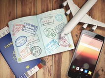 Travel and tourism concept. Passport with visas and boarding pas Stock Photos