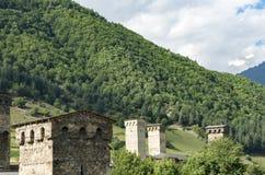 Travel tourism concept photo. Georgia / Svaneti / Mestia.  stock photography