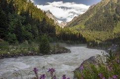 Travel tourism concept photo. Georgia / Svaneti / Mestia.  royalty free stock photography