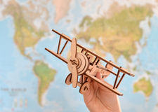 Travel and tourism concept with souvenirs from around the world. Planning summer vacation. Trip concept stock photo