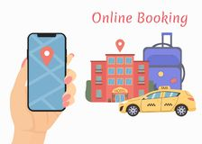 Hand holds the phone. book online a car and hotel vector illustration