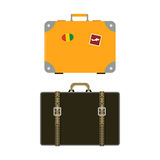 Travel tourism fashion baggage or luggage vacation handle leather big packing briefcase and voyage destination case bag Royalty Free Stock Photography