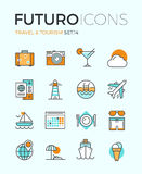 Travel and tourism futuro line icons stock illustration