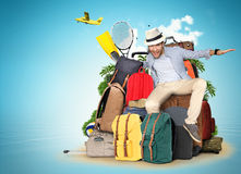 Travel. And tourism, the guy on the bags and suitcases Stock Photography