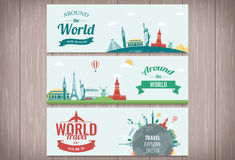 Travel and Tourism Header, Banner with famous Landmarks. Vector Royalty Free Stock Photography