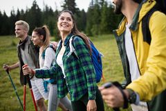 Travel, tourism, hike, gesture and people concept - group of smiling friends with backpacks. Over alpine mountains and hills background stock image